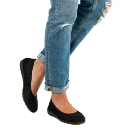 Filippo Black leather ballet shoes 4