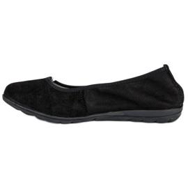 Filippo Black leather ballet shoes 1