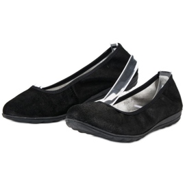 Filippo Black leather ballet shoes 2