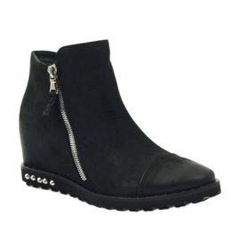 Ankle boots wedge black Edeo 3137 1