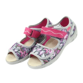 Befado children's shoes sandals leather insole 433X029 violet grey pink 4