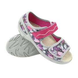 Befado children's shoes sandals leather insole 433X029 violet grey pink 3