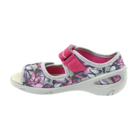 Befado children's shoes sandals leather insole 433X029 violet grey pink 2