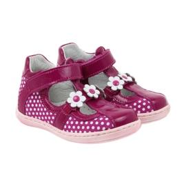 Ren But Polka dot ballerinas with flowers Ren 267 pink white 4