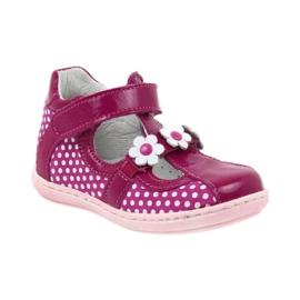 Ren But Polka dot ballerinas with flowers Ren 267 pink white 1