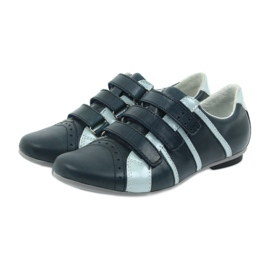 Children's leather shoes Mido sports shoes navy blue grey 3