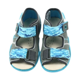 Befado children's shoes sandals with a leather insert 350P062 blue grey 4