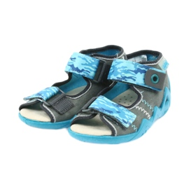 Befado children's shoes sandals with a leather insert 350P062 blue grey 3