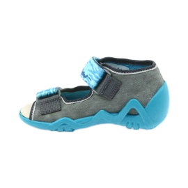 Befado children's shoes sandals with a leather insert 350P062 blue grey 2