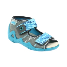Befado children's shoes sandals with a leather insert 350P062 blue grey 1