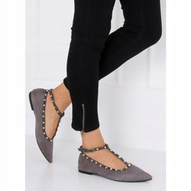 Gray heeled ballerinas 127-13 Gray grey 1