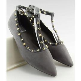 Gray heeled ballerinas 127-13 Gray grey 4