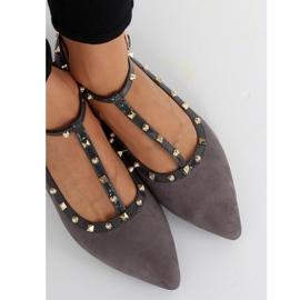 Gray heeled ballerinas 127-13 Gray grey 2