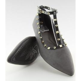 Gray heeled ballerinas 127-13 Gray grey 3