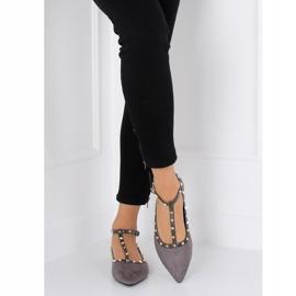 Gray heeled ballerinas 127-13 Gray grey 5