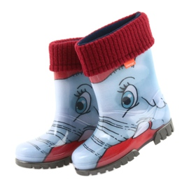 Demar children's boots wellies with a sock blue grey red 4