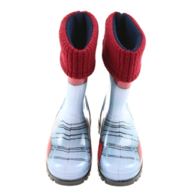 Demar children's boots wellies with a sock blue grey red 3