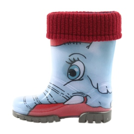 Demar children's boots wellies with a sock blue grey red 2