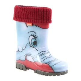 Demar children's boots wellies with a sock blue grey red 1