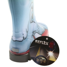 Demar children's boots wellies with a sock blue grey red 5