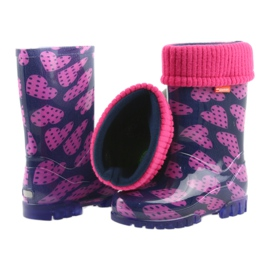 Demar rubber boots children warm socks hearts pink navy 5