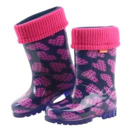 Demar rubber boots children warm socks hearts pink navy 4