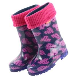 Demar rubber boots children warm socks hearts pink navy 3