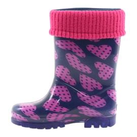 Demar rubber boots children warm socks hearts pink navy 2