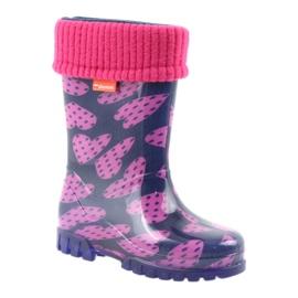 Demar rubber boots children warm socks hearts pink navy 1