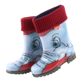 Demar children's boots wellies with a warm sock black red blue grey 4