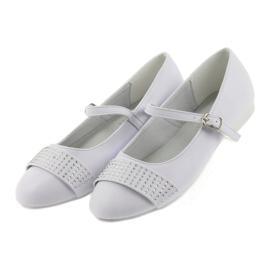 Pumps, children's shoes, ballerinas, communion rhinestones American Club 11/19 white 4