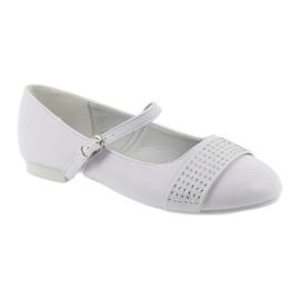 Pumps, children's shoes, ballerinas, communion rhinestones American Club 11/19 white 1