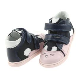 Boots shoes children Velcro rabbit Bartek 11702 white pink navy 4