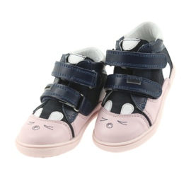 Boots shoes children Velcro rabbit Bartek 11702 white pink navy 3