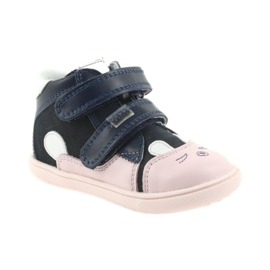 Boots shoes children Velcro rabbit Bartek 11702 white pink navy 1