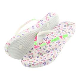 Atletico Women's flip-flops flowers white violet green pink 5