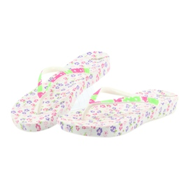Atletico Women's flip-flops flowers white violet green pink 4