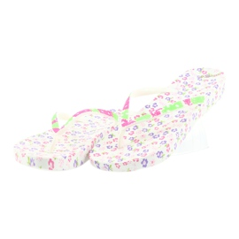 Atletico Women's flip-flops flowers white violet green pink 3