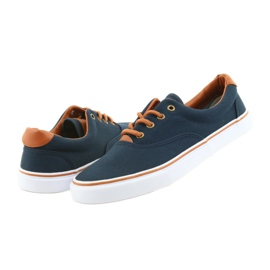 American Club Men's sneakers navy blue knotted LH03 brown 5