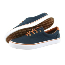 American Club Men's sneakers navy blue knotted LH03 brown 4