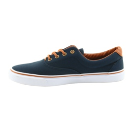 American Club Men's sneakers navy blue knotted LH03 brown 2