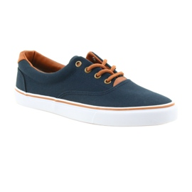 American Club Men's sneakers navy blue knotted LH03 brown 1