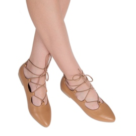 Vices Fashionable tied ballerinas brown 3