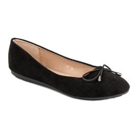 Suede Ballerinas With A Bow black 4