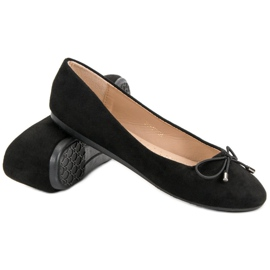 Suede Ballerinas With A Bow black 6