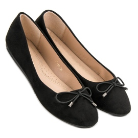 Suede Ballerinas With A Bow black 1