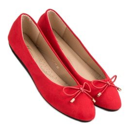 Suede Ballerinas With A Bow red 4