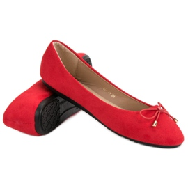 Suede Ballerinas With A Bow red 1