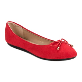 Suede Ballerinas With A Bow red 5