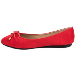 Suede Ballerinas With A Bow red 6
